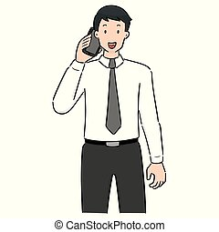 vector set of businessman using smartphone