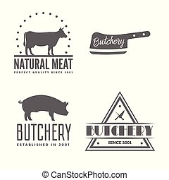 Vector set of butchery labels, badges and design elements - ...