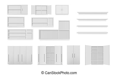 Vector set of cabinets isolated on white background. Bathroom cabinet, wardrobe, wall shelf, empty bookshelf. Mockup 3d illustration