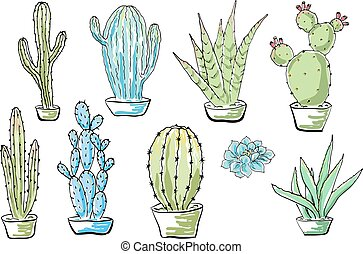 Vector set of cacti. Cartoon colored isolated objects on a white background. Multicolored hand drawn illustration.