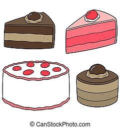 vector set of cake