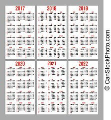 vector set of calendar grid for years 2017-2022 for business cards on white background