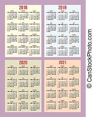 vector set of calendar grid for years 2018-2021 for business cards on background
