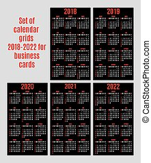 vector set of calendar grid for years 2018-2022 for business cards on black background