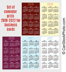 vector set of calendar grid for years 2018-2022 for business cards