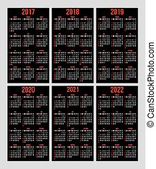 vector set of calendar grid for years 2017-2022 for business cards on black background