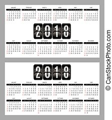 vector set of calendar grid for years 2018-2019 for business cards on background