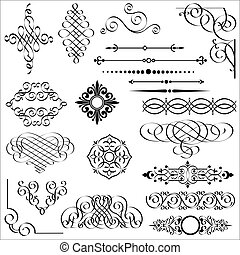 Vector set of calligraphic design elements.