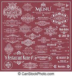 Vector set of calligraphic design elements for Restaurant Menu.