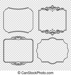 Vector set of calligraphic design elements page decoration, Premium and Satisfaction Guarantee Label, antique baroque frames