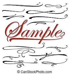 vector set of calligraphic elements for design inscriptions in retro style