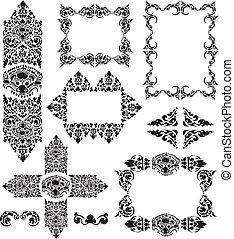 Cambodian floral frames - Vector set of Cambodian floral...
