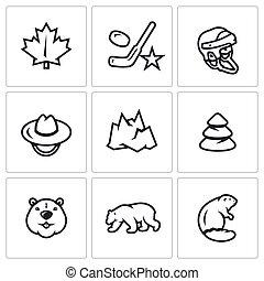 Vector Set of Canada Icons. Maple Leaf, Hockey, Helmet, Scout, Mountain, Forest, Beaver, Polar Bear.