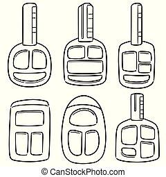 vector set of car keys