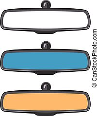 vector set of car rear view mirrors