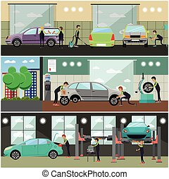 Vector set of car service, auto repair concept banners, posters