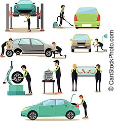 Vector set of car service, auto repair shop workers icons - ...