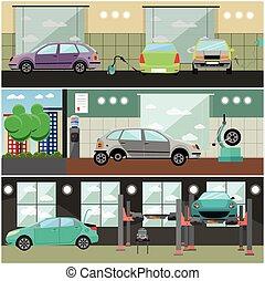 Vector set of car service station, repair shop interior banners