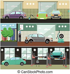 Vector set of car service station, repair shop interior banners
