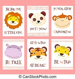 Vector set of cards cute woodland tribal animals