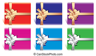 cards or gift boxes with bow and ri