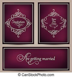 Collection of vintage frames on blurred dark violet background