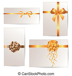 Vector Set of Cards with Ribbons - Vector Set of card note ...