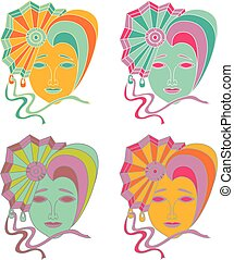 Vector set of carnival mask on a white background