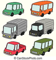 vector set of cars