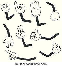 vector set of cartoon arms