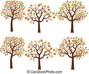 Vector set of cartoon autumn trees