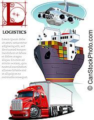 Vector set of cartoon cargo transport. Logistics mockup