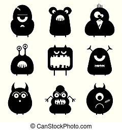 Vector set of cartoon cute funny monsters isolated on white. Silhouettes