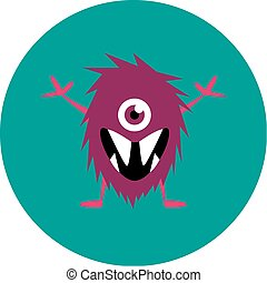 Vector set of cartoon cute monsters and aliens.