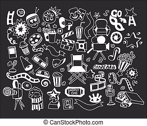 Vector set of cartoon doodle icons Cinema
