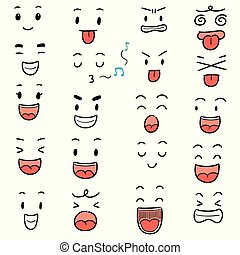 vector set of cartoon face