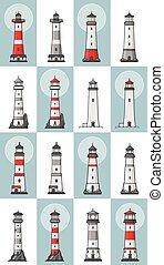 Vector set of cartoon flat lighthouses