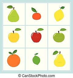 Vector set of cartoon fruit icons isolated on white