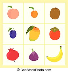 Vector set of cartoon fruits isolated on white background
