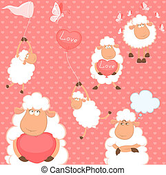 set of cartoon funny sheep