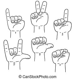 vector set of cartoon hand
