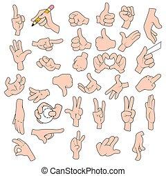 Vector set of cartoon hands