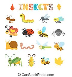Vector set of cartoon insects. Colorful bugs collection....