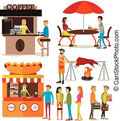 Vector set of cartoon people characters and street food stalls isolated on white background.