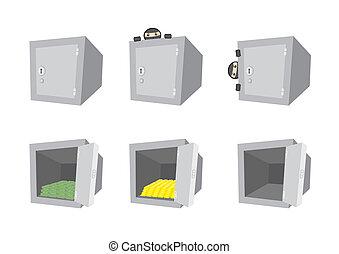 Vector set of cartoon safes