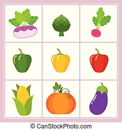Vector set of cartoon vegetables isolated on white background