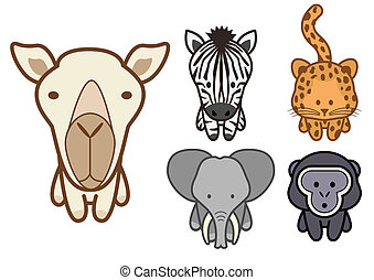 Vector set of cartoon wild or zoo a