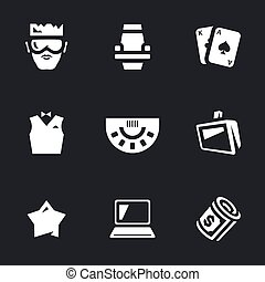 Vector Set of Casino Icons. - Player, chair, card, croupier,...