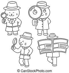 vector set of cat detective