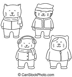 vector set of cat in winter clothes
